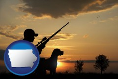 iowa map icon and a hunter and a dog at sunset