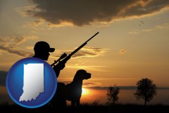 indiana map icon and a hunter and a dog at sunset