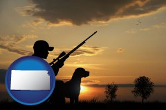 kansas map icon and a hunter and a dog at sunset