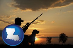 louisiana map icon and a hunter and a dog at sunset