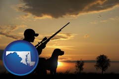 maryland map icon and a hunter and a dog at sunset