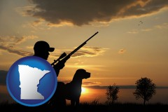minnesota map icon and a hunter and a dog at sunset