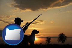 oregon map icon and a hunter and a dog at sunset