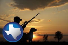 texas map icon and a hunter and a dog at sunset