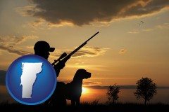 vermont map icon and a hunter and a dog at sunset