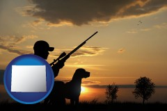 wyoming map icon and a hunter and a dog at sunset