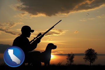a hunter and a dog at sunset - with California icon
