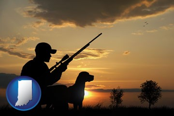 a hunter and a dog at sunset - with Indiana icon