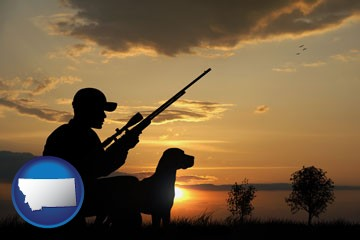 a hunter and a dog at sunset - with Montana icon