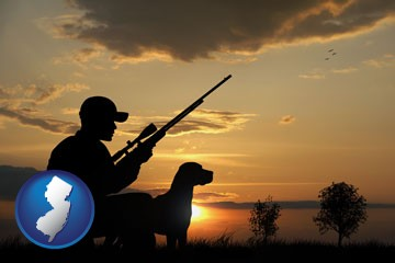 a hunter and a dog at sunset - with New Jersey icon