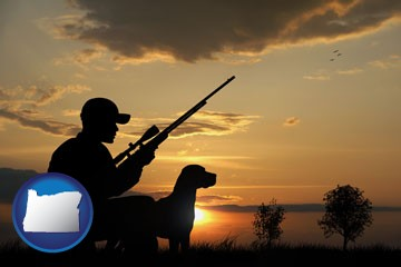 a hunter and a dog at sunset - with Oregon icon