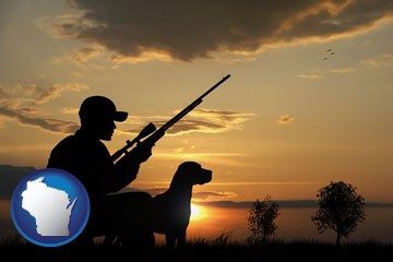 a hunter and a dog at sunset - with Wisconsin icon